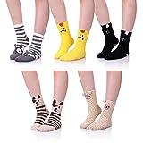 ZaYang 5 Pack Womens Girls Cute Animal Soft Fuzzy Warm Winter Sleeping Slipper Socks Value Pack (Animal A)
