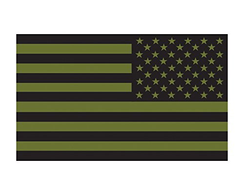 - Morale Tags O.D. Green Reverse American Flag Military Vinyl Decal 3x5 Sticker for Cars Trucks Laptops (O.D. Green and Black)
