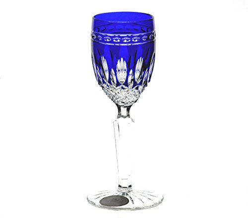 Ajka Cobalt Blue Cut to Clear Crystal Cordial Liqueur Glasses Set of 6 Cobalt Blue Cased Cut