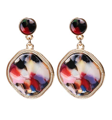 vogueknock Acrylic Disc Dangle Earrings Square Tortoise Shell Resin Drop Earrings for Women (Floral)