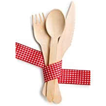 Disposable Wooden Cutlery Utensil Set, Eco-friendly Silverware, Biodegradable. Set of 150 serving utensils (50 forks, 50 knives, 50 spoons). Perfect for Party, Picnic,Camping, Barbecue. Happy Eco day!