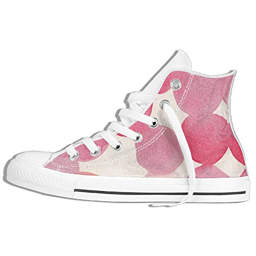 Rose Aquarelle Haut Haut Chaussures De Toile Classique Sneaker De Mode Blanc