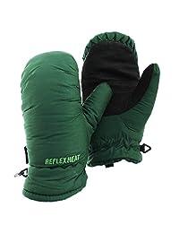 Childrens/Kids Waterproof Reflex Heat Dry Tech Feather Touch Padded Ski Mittens (X Large) (Dark Green)