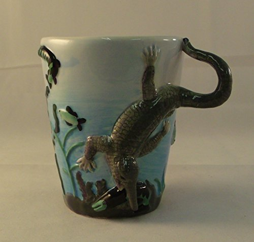 Sculpted Ceramic Crocodile Mug 10 Oz