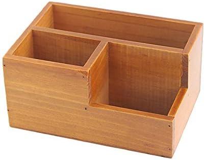 Schreibtisch-Organizer aus Holz, Retro-Stil, Schreibtisch-Organizer, Holzbox für Schreibtisch, Büro, Zuhause, Nachttisch braun