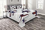 Lunarable Boy's Room Bedspread Set King Size, America Inspired Toy Planes with Stripes and Stars Patriotic Illustration, Decorative Quilted 3 Piece Coverlet Set with 2 Pillow Shams, Red White Blue