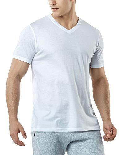 TSLA Men's HyperDri Short Sleeve T-Shirt Athletic Cool Running Top MTS Series, Dyna Cotton V Neck(mts51) - White, X-Large ()