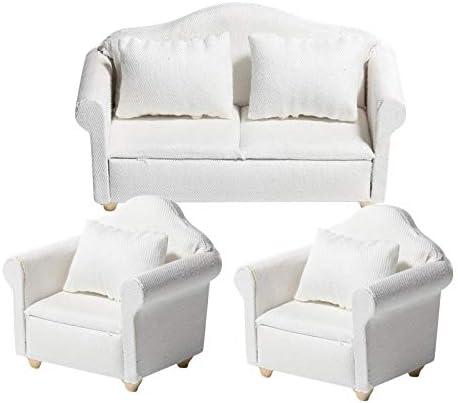 LoveinDIY White 1/12 Wood Sofa Set Dollhouse Miniatures Furniture Model Living Room Decor