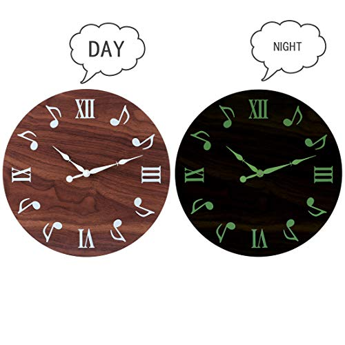 PeleusTech® 12 Inch Night Wall Clock for Bedroom- Modern Silent Wood Battery Operated Wall Clock - Glows in The Dark - (Light Oak Wall Clocks)