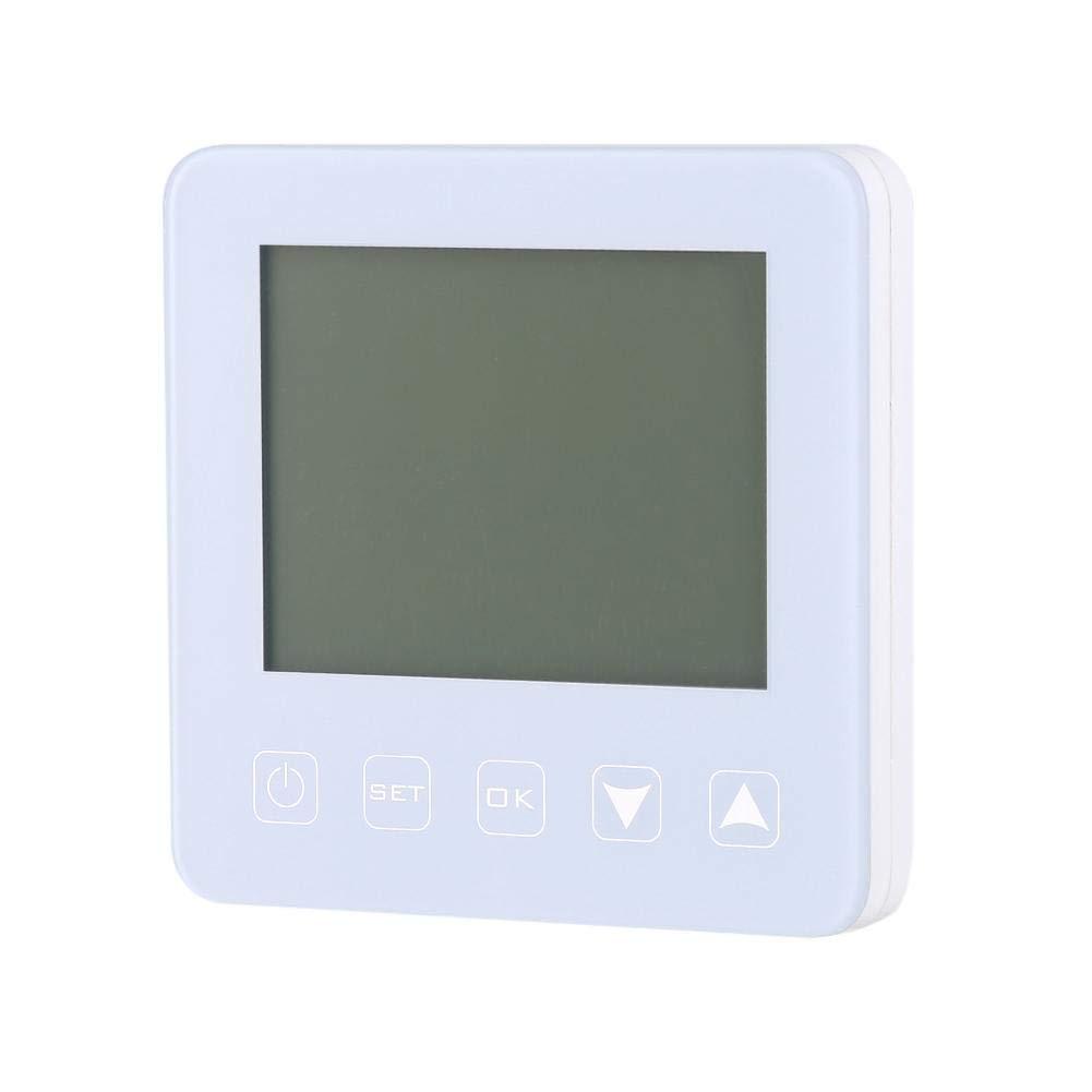 Blanc Fishlor Thermostat de Chauffage /électrique programmable avec /écran Tactile LCD programmable
