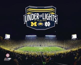 Michigan Wolverines - Michigan Stadium - Under the Lights - Sm - Wood Mounted Poster Print