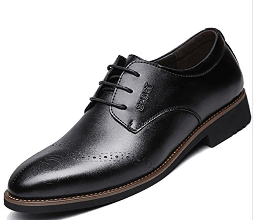 CSDM Scarpe da cuoio da uomo Scarpe da sposa scarpe da sposa casual di cuoio traspirante di grandi dimensioni , black , 41