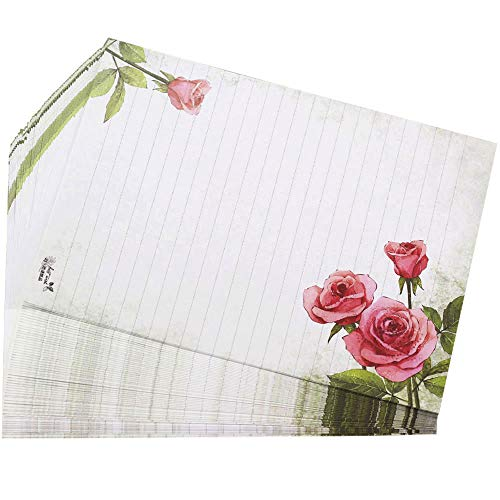 (Bolbove 64 Pcs Lovely Flower Cute Plant Elegant Letter Writing Stationery Paper Lined Sheets (Rose))