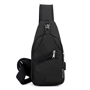 Elonglin Unisex Sling Bag Multipurpose Daypack Satchel Canvas Shoulder Chest Crossbody Bag with USB Charging Port Black