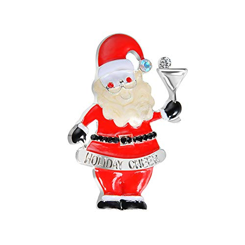 (MIXIA Cartoon Christmas Trees Snowman Santa Claus Three Cat Brooches Pin for Women Xmas Brooch Jewelry Kids Friends Gifts (Santa)