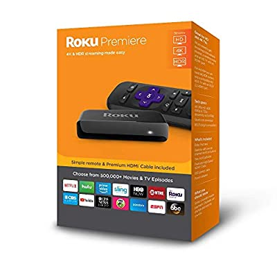 Roku Premiere | HD/4K/HDR Streaming Media Player with Simple Remote and Premium HDMI Cable (Certified Refurbished)