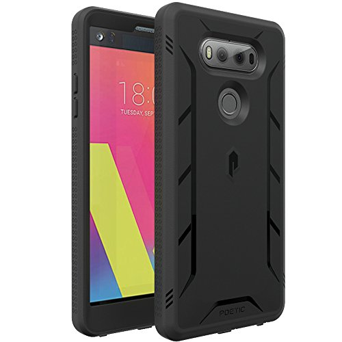 LG V20 Case, POETIC Revolution Series [Premium Rugged][Shock Absorption & Dust Resistant][Heavy Duty] Complete Protection Hybrid Case w/Built-in Screen Protector for LG V20 (2016) Black