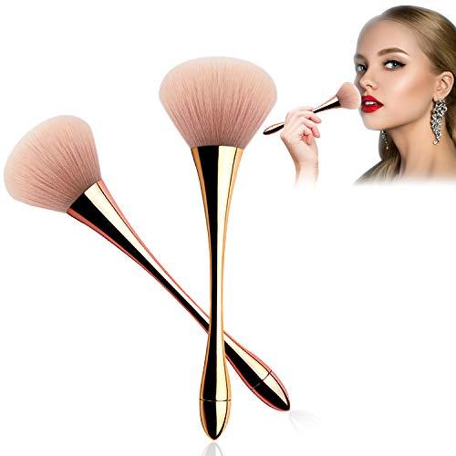 2PCS Large Head Makeup Brushes Face Powder Foundation Brushes, Super Jumbo Fluffy Round Blush Brush Kabuki Brushes Contour Blending Bronzer Cosmetics Brushes