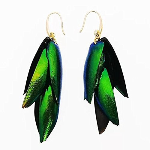 - 1 pair Handmade Natural Beetle Wings Womens Vintage Tassels Drop Earring