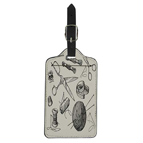 - Pinbeam Luggage Tag Sewing Notions Thread Needle Scissors Ball of Yarn Suitcase Baggage Label