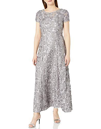 Alex Evenings Women's 10 Long A-Line Rosette Dress, Dove