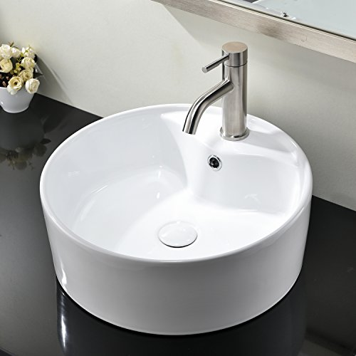 Hotis Round Above Counter White Porcelain Ceramic Vessel Countertop Bowl Lavatory Vanity Bathroom (White Porcelain Single Bowl)