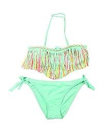 Leiwo Girls Tassels Two Piece Swimsuit Bikini Bathing Suit Rosered-3-4T