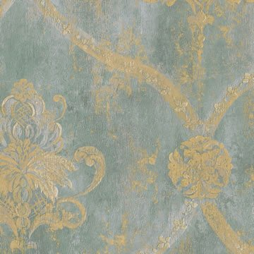 Wallpaper Gold Regal Damask on Aqua Textured Background (Distressed Damask Wallpaper)
