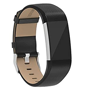 Henoda Replacement Bands Compatible with Fitbit Charge 2, Classic Genuine Leather Charge 2 Band Fitness Wristband for Women Men Small Large