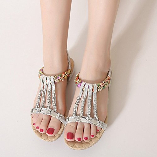 Btrada Women Fashion Beades Flat Sandals Open Toe Bohemia Dress Sandals Silver bhnxY