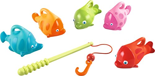 HABA Angler Set with Squirter Fish - Includes Fishing Rod and 5 Colorful Fish - Entertaining for Bathtub or Kiddie Pool
