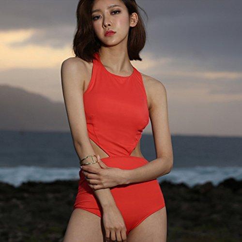 YUPE Hot spring Badeanzug Bikini Schwarz kleine Brust hohe Taille Halfter runden Ausschnitt verbundene Winkel Badeanzug konservative Abdeckung Bauch