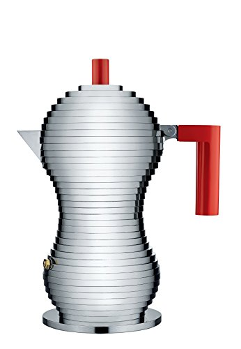 "Alessi MDL02/3 R ""Pulcina"" Stove Top Espresso 3 Cup Coffee Maker in Aluminum Casting Handle And Knob in Pa, Red"