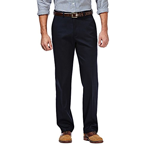 Haggar Men's Classic Fit Flat-Front Hidden Expandable Waistband Premium No Iron Khaki, 33W x 30L - Dark Navy
