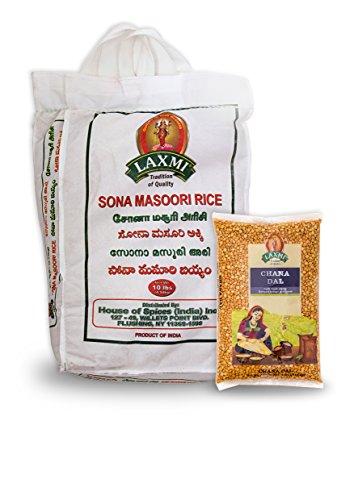 Laxmi Sona Masoori Rice & Laxmi Chana Dal Bundle - (10lb Rice and 4lb Dal) by Laxmi