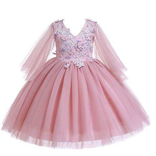 (Weileenice 3-14T Girls Wedding Party Dress Tulle 3D Embroidery Beading Flower Elegant Princess Dresses (9-10Years, Dusty Pink))