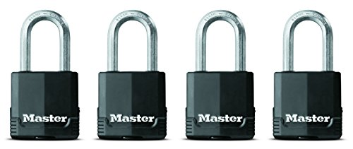 Master Lock Padlock, Magnum Covered Laminated Steel Lock, 1-7/8 in. Wide, M115XQLF (Pack of 4-Keyed Alike) (Padlock Master Weatherproof Laminated Lock)