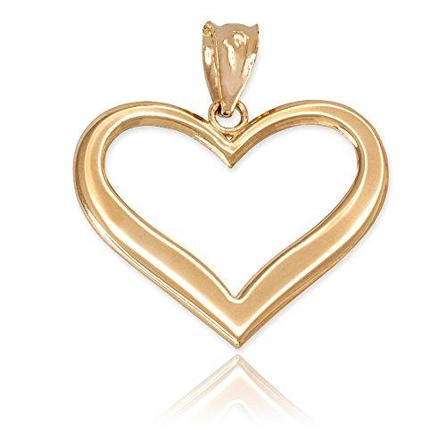 [Polished 14k Yellow Gold Love Charm Open Heart Pendant] (Mom Open Heart Charm)