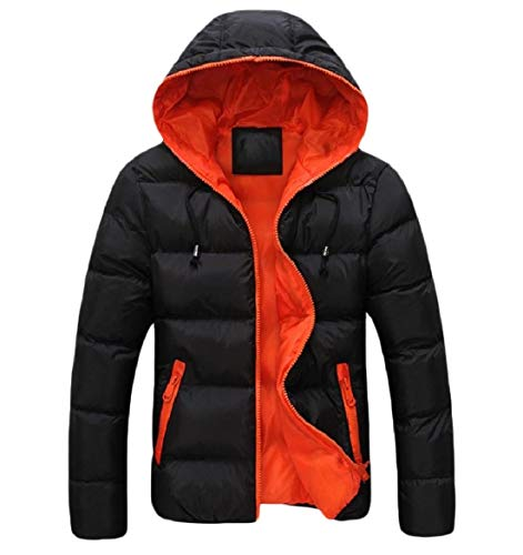 Calda Arancione Giacca Howme Cappotto Tasca Outwear Casuale Corta men Cappuccio Zip wxOaH1wfq