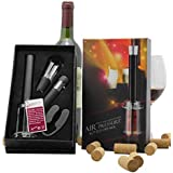 Air Pressure Pump Wine Bottle Opener Set - 4 pieces Gift Boxed Wine Accessory Tool Kit, Perfect Gift for Wine Lovers