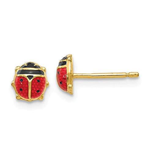 14K Yellow Gold Enameled Ladybug Earrings - (0.24 in x 0.24 - Ladybug Polished Enameled