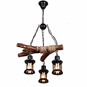 HQLCX Chandelier American style industrial wind retro solid wood personality nostalgic bar loft Chandelier