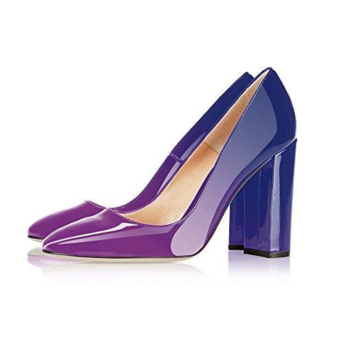 Tacchi A Spillo Tacco Largo In Vernice Moderna Modellata Da Donna Bellissime Scarpe Da Sera Con Tacco A Spillo Viola Blu
