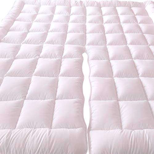 Cal King Split Top - Royal Tradition 2 Inch Plush 100 Percent Microfiber Top Split California King Down Alternative Mattress Pad/Topper