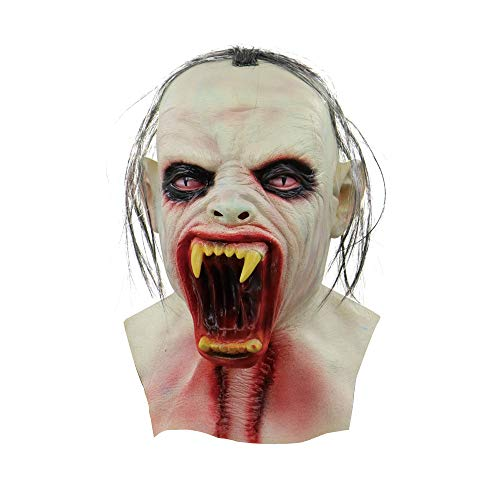 Sonmer Scary Zombie Latex Mask With Hair for Halloween Costume Prop Theme Masquerade (E)]()