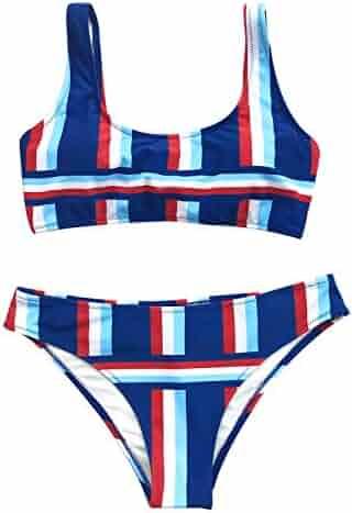 bdb1b6af972 CUPSHE Women's Stripe Back Lace Up Bikini Set Beach Swimwear One More Kiss