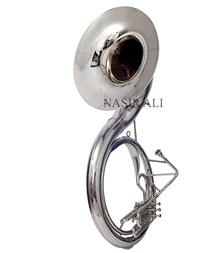 "SOUSAPHONE FOR SALE KING SIZE TUBA 24"" FOR SALE Bb PITCH NICKEL SILVER COLORED WITH BAG"