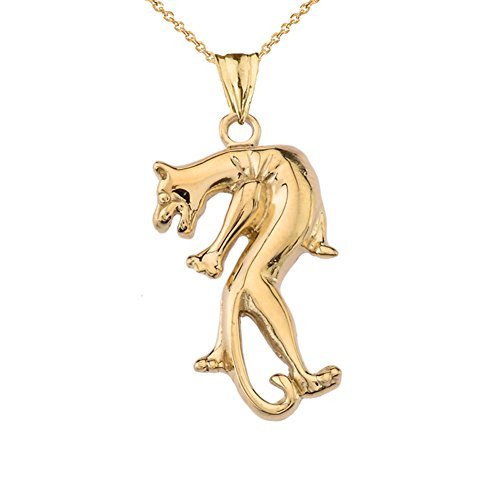Fine Panther Pendant Necklace in Solid 10k Yellow Gold, 18