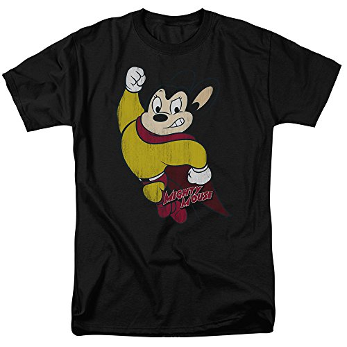 CBS Classic Retro - Mighty Mouse Distressed-Print Adult T-Shirt, XX-Large (Retro Mighty Mouse)