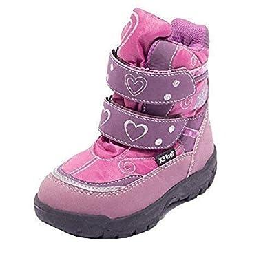 Kinder Thermostiefel Winterstiefel Klett Schuhe Schnee Stiefel Winter Boots  Mit Klettverschluss Für Jungen Mädchen Modelle LILA Und BRAUN Gr. 23u201325: ...